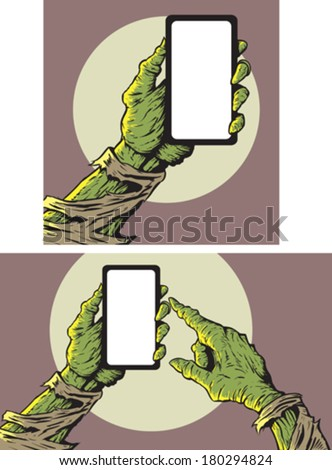 Zombie with smartphone  - stock vector