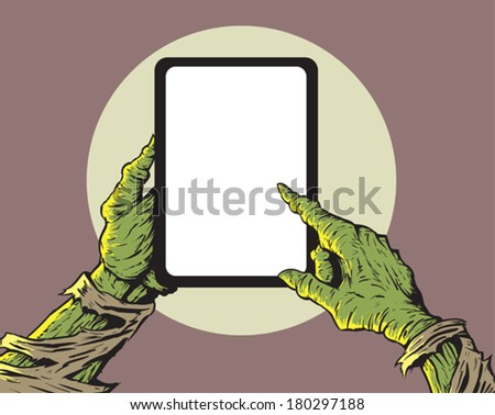 Zombie with tablet - stock vector
