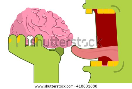 Zombies eat brains. Green dead eats delicacy from Central Authority of  human nervous system. Open mouth monster - stock vector