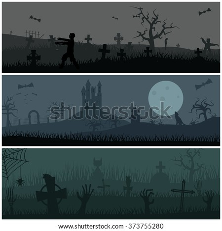 Zombies night vector background. Zombie hands, zombie silhouettes, halloween background. Zombie scary night background illustration - stock vector