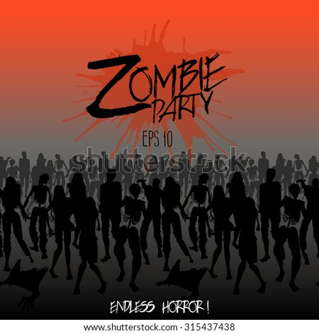Zombies party. Zombie silhouettes crowd walking forward. Endless character line. Halloween design - stock vector