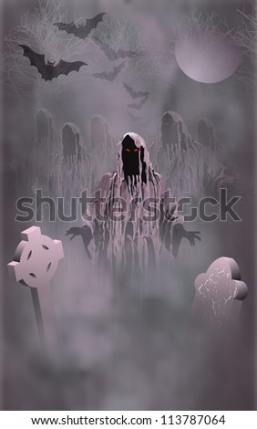 Zombies rising from their graves on Halloween - stock vector
