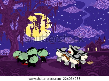 Zombies versus witches - stock vector