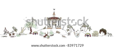 Zoo adventure illustration - stock vector