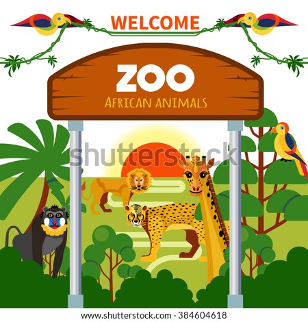 Zoo african animals with exotic birds at sunrise or sunset vector illustration - stock vector