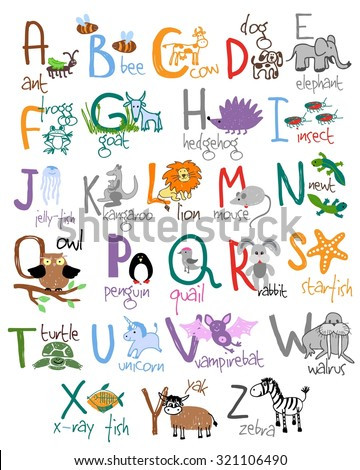 Zoo alphabet. Ant bee cow dog frog hedgehog goat insect jellyfish newt quail starfish. Vector illustration - stock vector