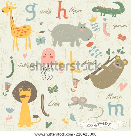 Zoo alphabet with cute animals. G,h,i,j,k,l,m letters. Giraffe, hippo, iguana, jellyfish, koala, lion, mouse in cartoon style. - stock vector