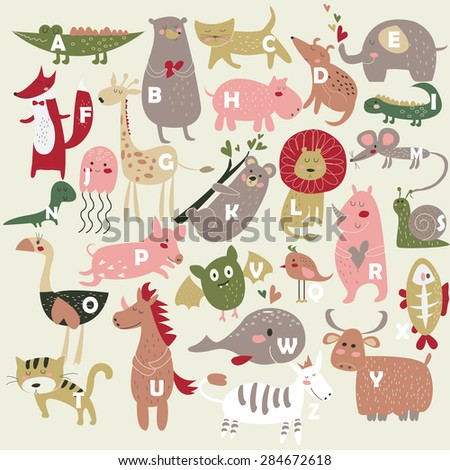 Zoo alphabet with cute animals in cartoon style - stock vector