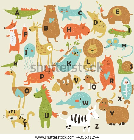 Zoo alphabet with cute animals in cartoon style
