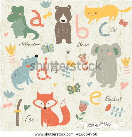 Zoo alphabet with cute animals in cartoon style. A, b, c, d, e, f letters. Alligator, bear, cat, dog, elephant and fox.