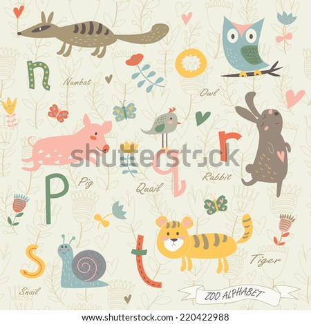 Zoo alphabet with cute animals. N, o, p, r, q, s, t letters. Numbat, owl, quail, pig, rabbit, snail, tiger in cartoon style. - stock vector