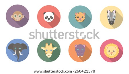 Zoo animal flat, long shadow icons featuring a monkey, panda, tiger, zebra, elephant, giraffe, hippo, and lion.