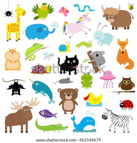 Zoo animal set cute cartoon character stock vector 461544679 zoo animal set cute cartoon character collection isolated white background baby children voltagebd Images