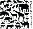Zoo animals collection - vector silhouette - stock vector
