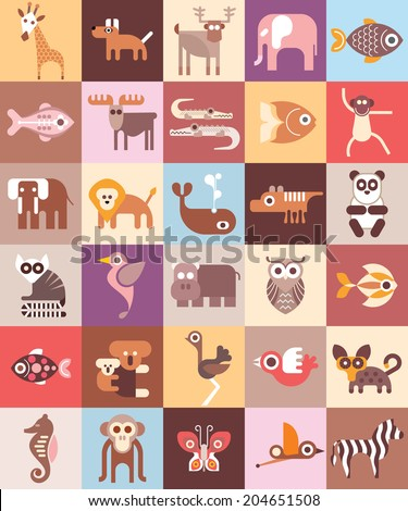 Zoo Animals - vector illustration. Graphic design with variety animal icons. - stock vector