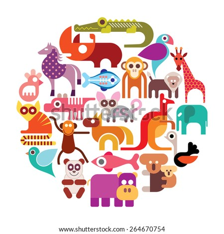 Zoo animals vector round illustration. Various isolated colorful icons on white background. - stock vector