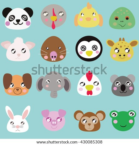 Zoo Baby Animal Faces Collection.