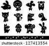 Zoo collection  of Animals Silhouette - stock vector