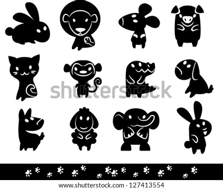 Zoo collection  of Animals Silhouette