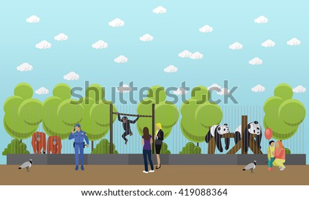 Zoo concept banner. People visiting zoo with family and kids. Animals in zoo. Vector illustration in flat style design. - stock vector