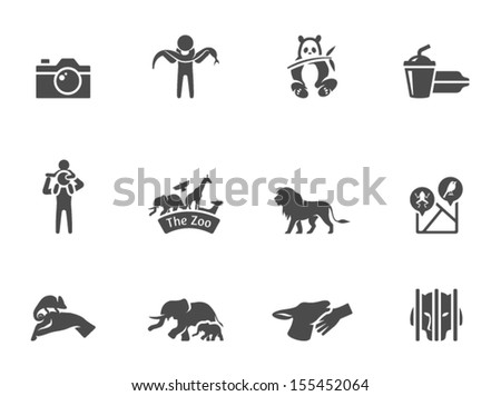 Zoo icons in Metro style - stock vector
