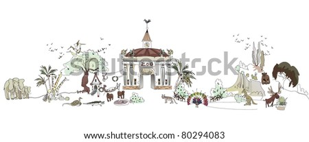 zoo illustration - stock vector
