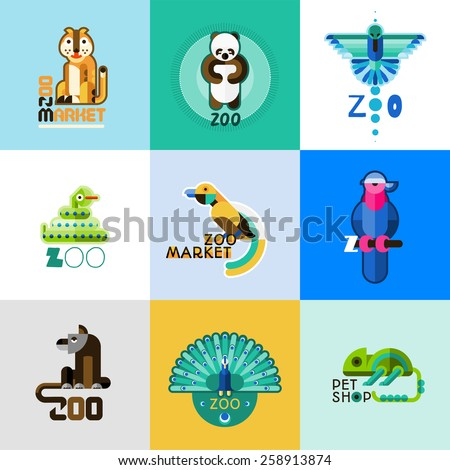 Zoo market pet shop logo set with wild animals and cute birds isolated vector illustration - stock vector