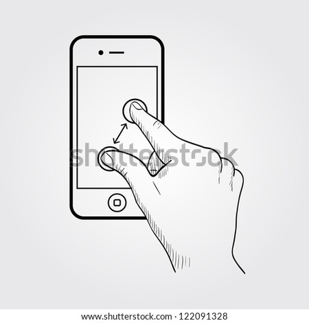Zoom gesture on the phone - stock vector