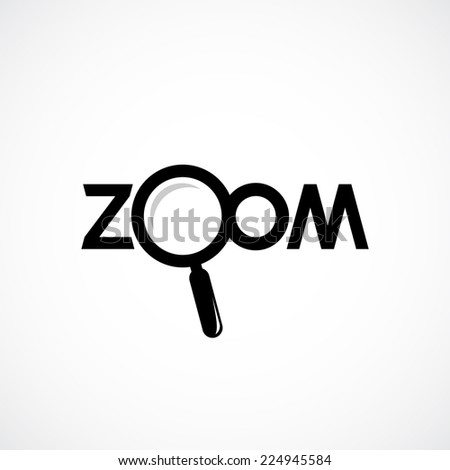 Zoom icon with letters. Magnifying glass is separate object.  - stock vector