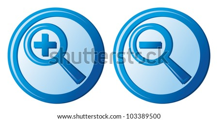 zoom icons (magnifier button, search icon, zoom icons set) - stock vector