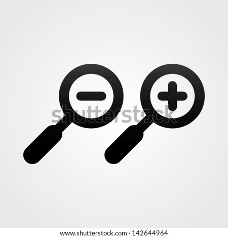 Zoom In and Zoom Out Icons - stock vector