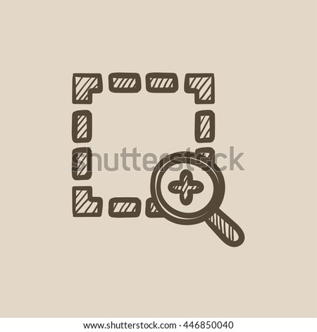Zoom in vector sketch icon isolated on background. Hand drawn Zoom in icon. Zoom in sketch icon for infographic, website or app. - stock vector