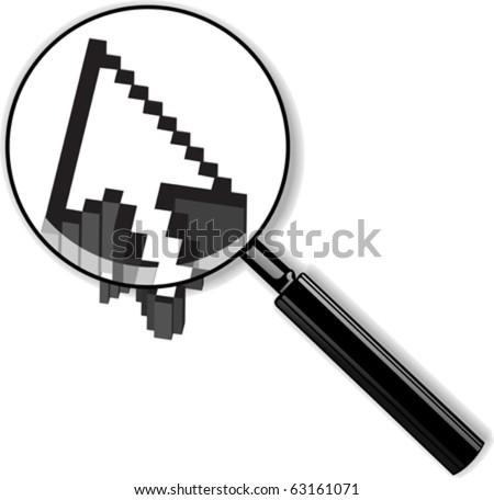 Zoom Lens And 3D Arrow Cursor. Vector Illustration. - stock vector