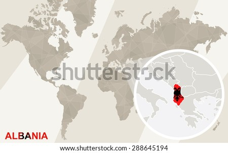 Zoom on Albania Map and Flag. World Map.  - stock vector