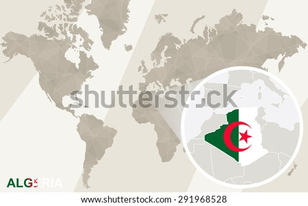 Zoom on Algeria Map and Flag. World Map.  - stock vector