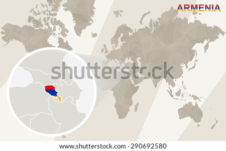 Zoom on Armenia Map and Flag. World Map.  - stock vector