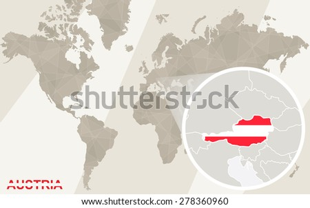 Zoom on Austria Map and Flag. World Map.  - stock vector