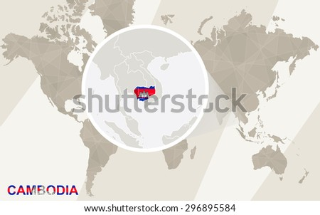Zoom on Cambodia Map and Flag. World Map.  - stock vector