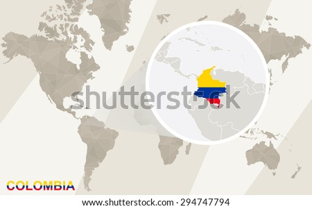 Zoom on Colombia Map and Flag. World Map.  - stock vector
