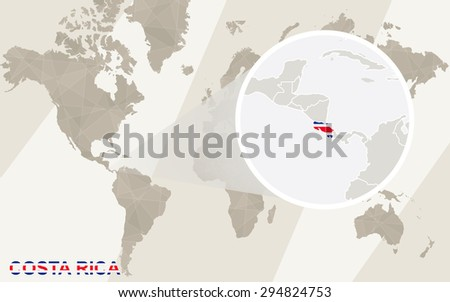 Zoom on costa rica map flag vectores en stock 294824753 shutterstock zoom on costa rica map and flag world map gumiabroncs Image collections