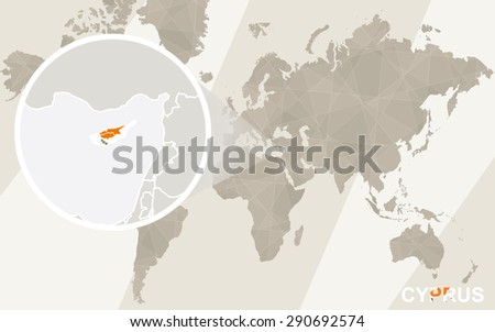 Zoom on Cyprus Map and Flag. World Map.  - stock vector