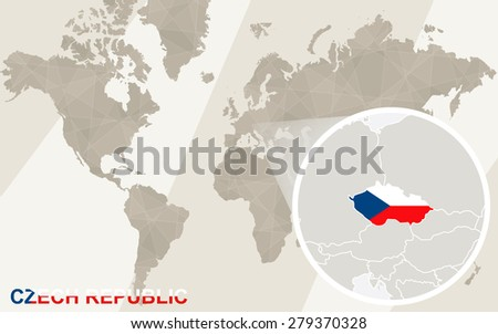 Zoom on Czech Republic Map and Flag. World Map.  - stock vector