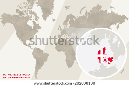 Zoom on Denmark Map and Flag. World Map.  - stock vector
