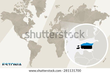 Zoom on Estonia Map and Flag. World Map.  - stock vector