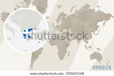 Zoom on Greece Map and Flag. World Map.  - stock vector