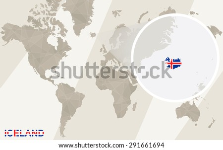 Zoom on Iceland Map and Flag. World Map.  - stock vector