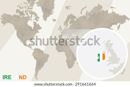 Zoom on Ireland Map and Flag. World Map.  - stock vector