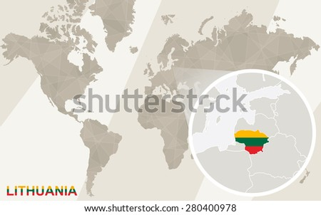 Zoom on Lithuania Map and Flag. World Map. - stock vector