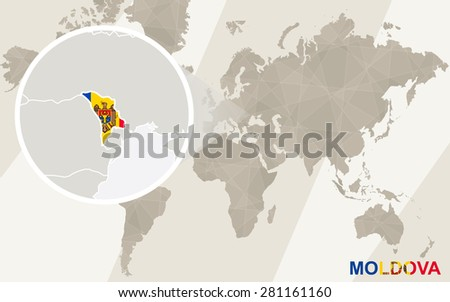 Zoom on Moldova Map and Flag. World Map.  - stock vector