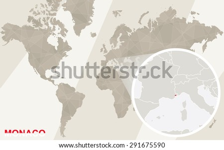 Zoom on Monaco Map and Flag. World Map.  - stock vector